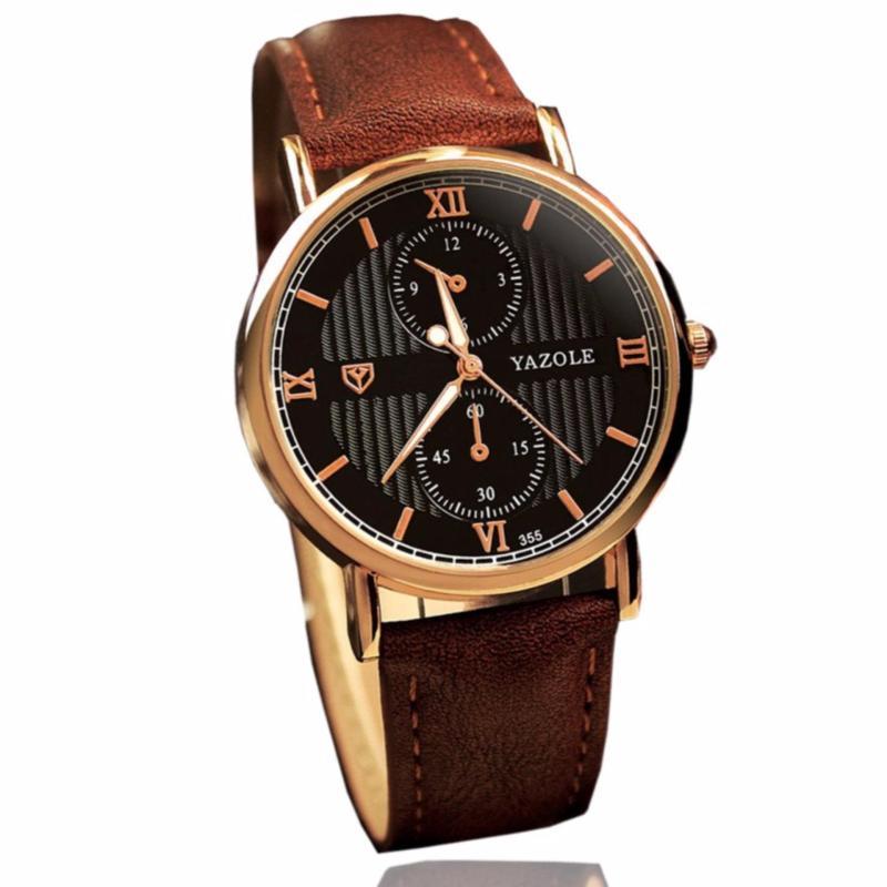 Nơi bán Đồng hồ nam dây da Yazole Japan - YL355 cao cấp - dây nâu mặt đen + Tặng kèm pin đồng hồ dự phòng