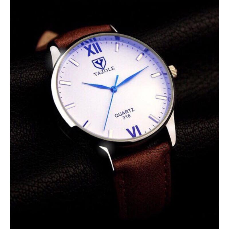 Nơi bán Đồng hồ nam dây da Yazole YR318- Nk541 (Nâu – Mặt Trắng).