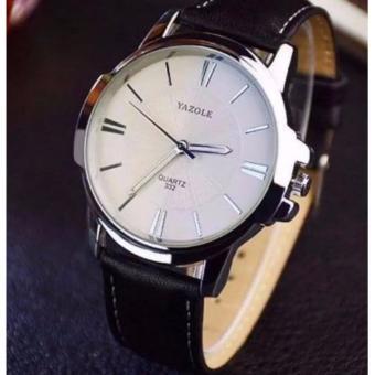 Đồng hồ nam dây da Yazole YR332 (dây đen mặt trắng)