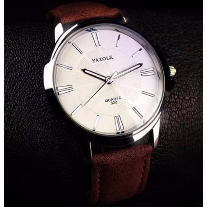 Nơi bán Đồng hồ nam dây da Yazole YR332 (dây nâu mặt trắng)