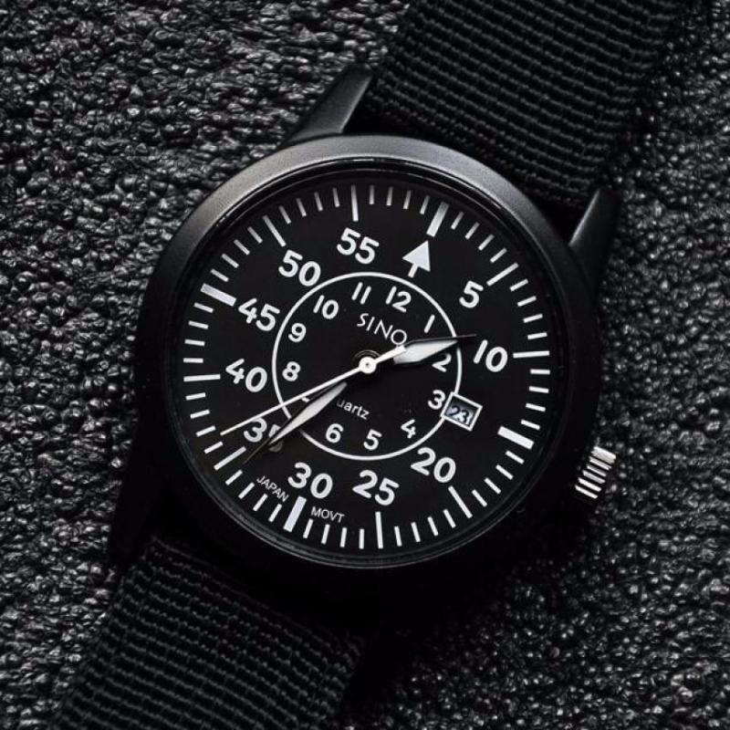 Nơi bán Đồng hồ nam dây dù SINO JAPAN MOVT DHSN8868 (Dây đen mặt đen)