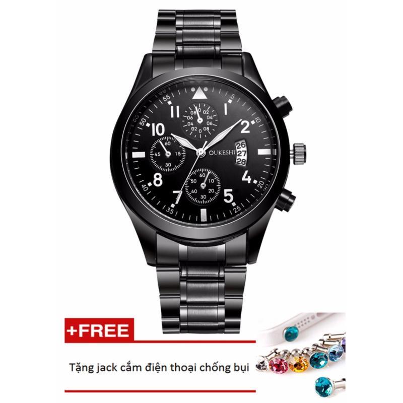 Nơi bán Đồng hồ nam dây hợp kim Oukeshi PKHROU001-1 (đen) + Tặng 1 jack chống bụi cho điện thoại