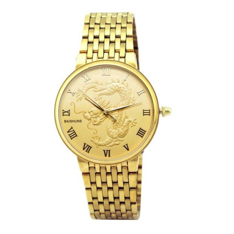 Nơi bán Đồng hồ nam dây kim loại chạm rồng Baishuns DM067 (Vàng)