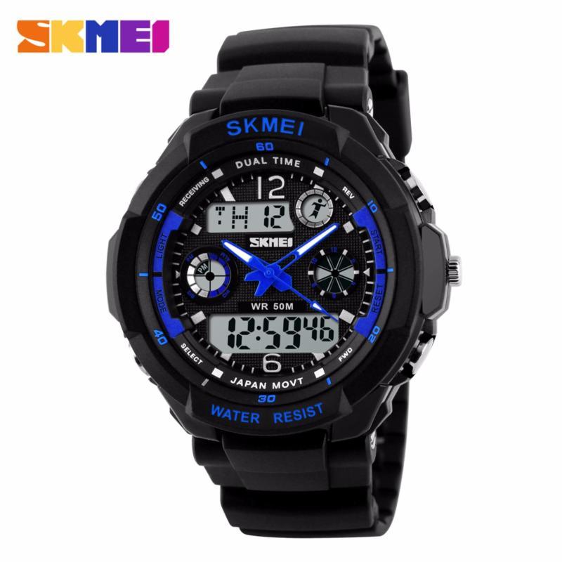 Đồng hồ nam dây nhựa S-SHOCK SKMEI SK013 (Đen phối xanh dương) bán chạy