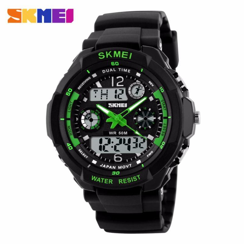 Nơi bán Đồng hồ nam dây nhựa S-SHOCK SKMEI SK013 (Đen phối xanh lá)