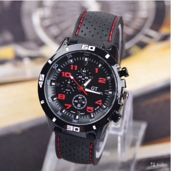 Đồng hồ nam dây silicon Tiến Phát (Đen phối đỏ)