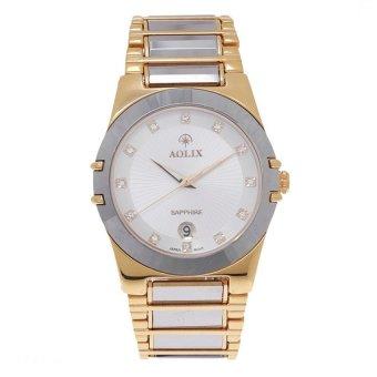 Đồng hồ nam dây thép không gỉ Aolix 6824L (Trắng phối vàng)