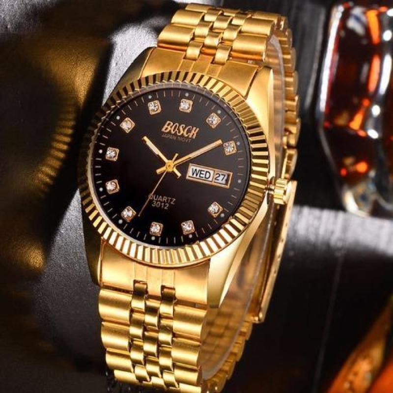 Nơi bán Đồng hồ nam dây thép không gỉ Bosck Japan H3012 (Vàng)