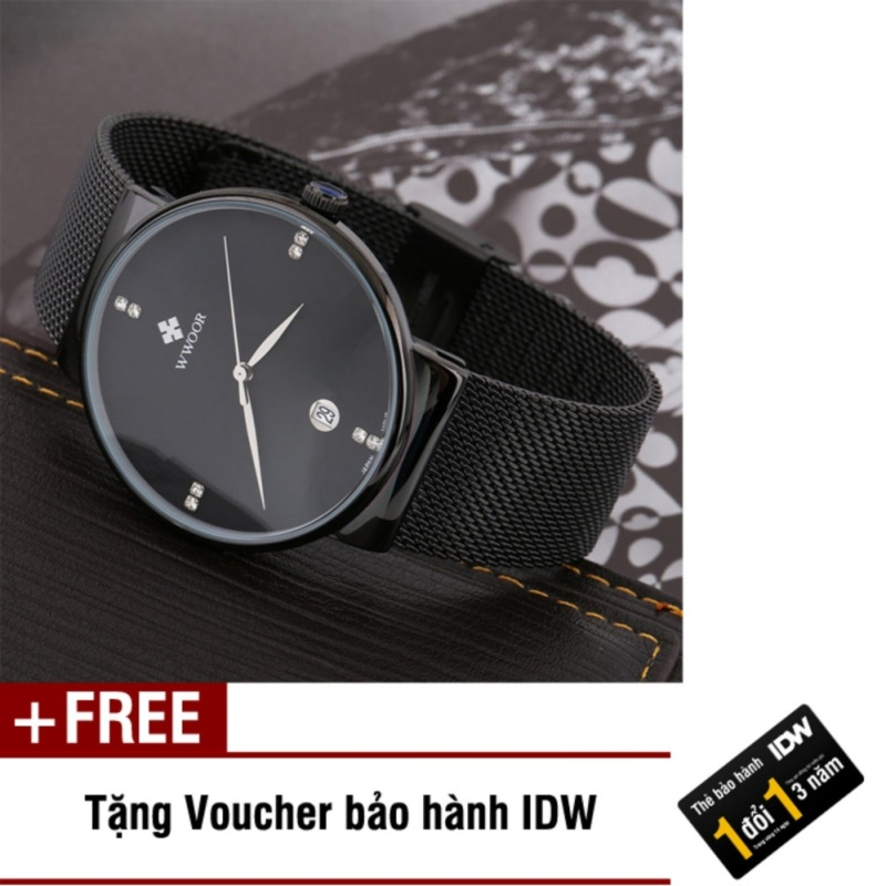 Nơi bán Đồng hồ nam dây thép không gỉ cao cấp Wwoor IDW 4921 (Dây đen mặt đen) + Tặng kèm voucher bảo hành IDW