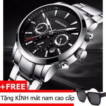 Đồng hồ nam dây thép không gỉ chạy 6 kim Kashidun 1001
