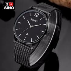 Giá Sốc Đồng hồ nam dây thép không gỉ mặt mỏng cao cấp Sino Japan Movt S6147 – Đen  Hoàng Kim Digital