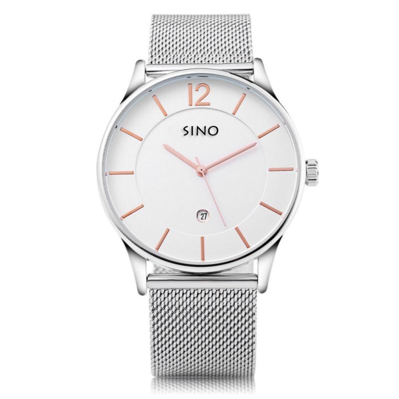 Nơi bán Đồng hồ nam dây thép không gỉ mặt mỏng Sino Japan Movt S6147 - Trắng