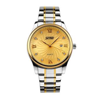 Đồng hồ nam dây thép không gỉ Skmei 9101CS (Mặt vàng)