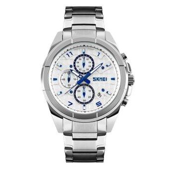 Đồng hồ nam dây thép không gỉ Skmei 9109 6 kim (Trắng)