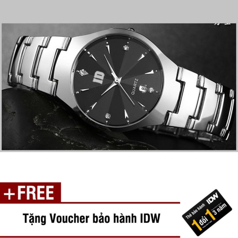 Nơi bán Đồng hồ nam dây thép không rỉ mặt kính khối cao cấp IDW S0111 (Mặt đen) + Tặng kèm voucher bảo hành IDW