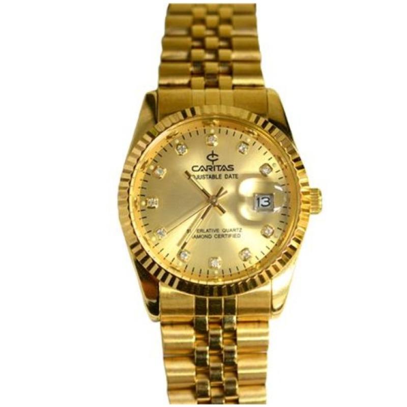 Nơi bán Đồng hồ nam dây thép mạ vàng Caritas