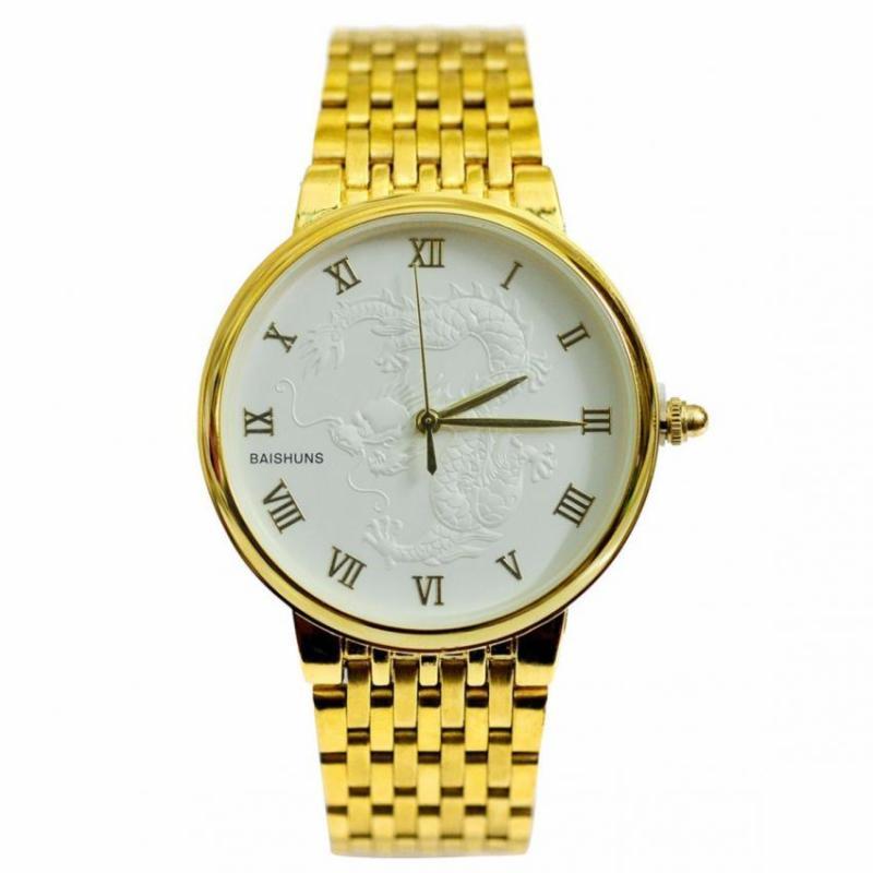 Nơi bán Đồng hồ nam dây thép mạ vàng mặt rồng BAISHUNS BAS11003 (Mặt trắng)