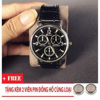 Bảng Báo Giá Đồng hồ nam giá rẻ TimeZone Geneva cá tính (Đen) + Tặng Kèm Pin Đồng Hồ