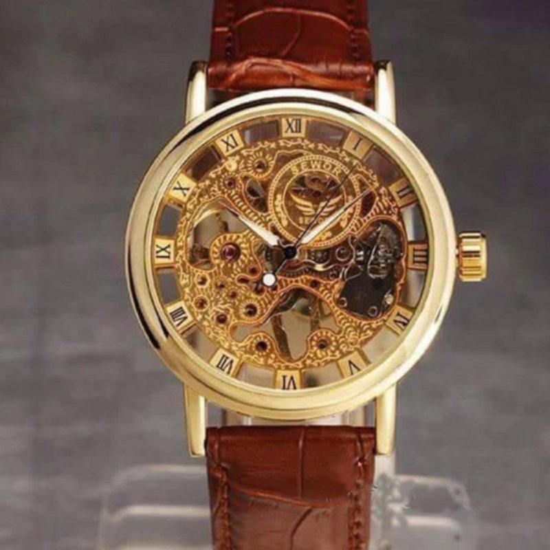 Nơi bán Đồng hồ nam lộ máy dây da thời trang (Nâu)