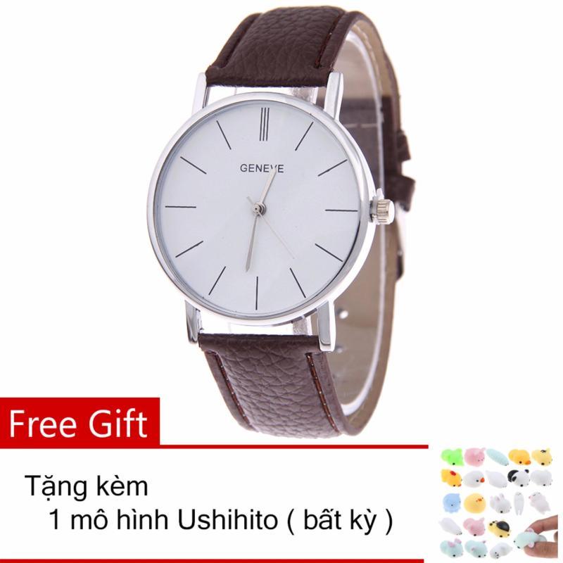 Nơi bán Đồng hồ nam - nữ dây giả da Geneva PU028_BR3383 + Tặng 1 thú dẻo Ushihito bất kỳ