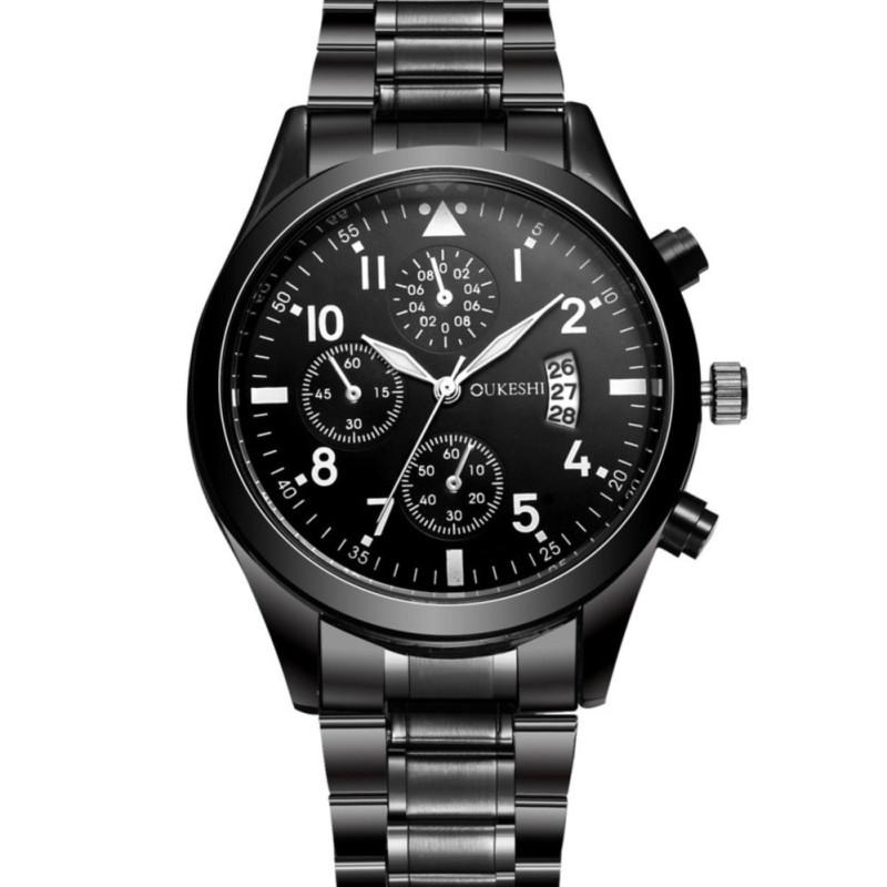 Nơi bán Đồng hồ nam OUKESHI OSK3579 dây thép không gỉ cao cấp ( Mặt đen )