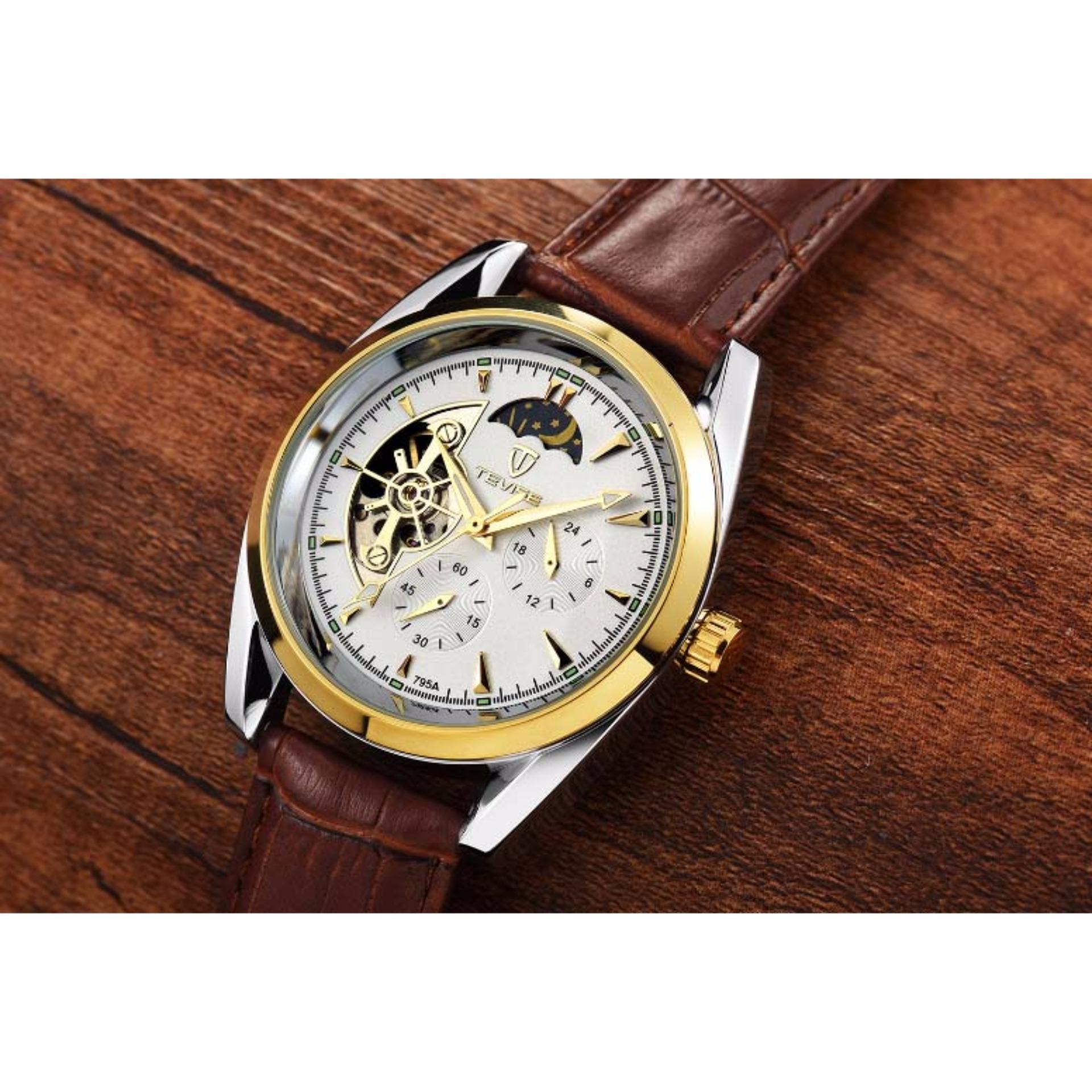Đồng hồ nam Tevise 795A máy cơ dây da chạy full kim (Mặt trắng dây nâu)