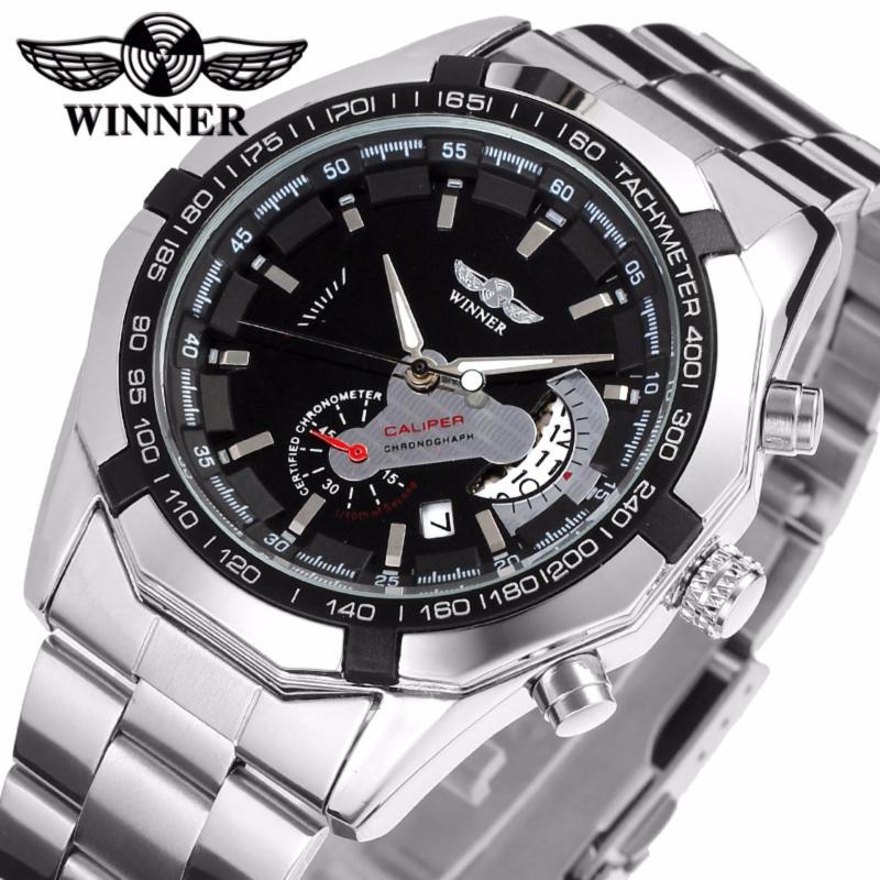 Nơi bán Đồng hồ nam Winner W050 cơ lộ máy có lịch (Trắng)