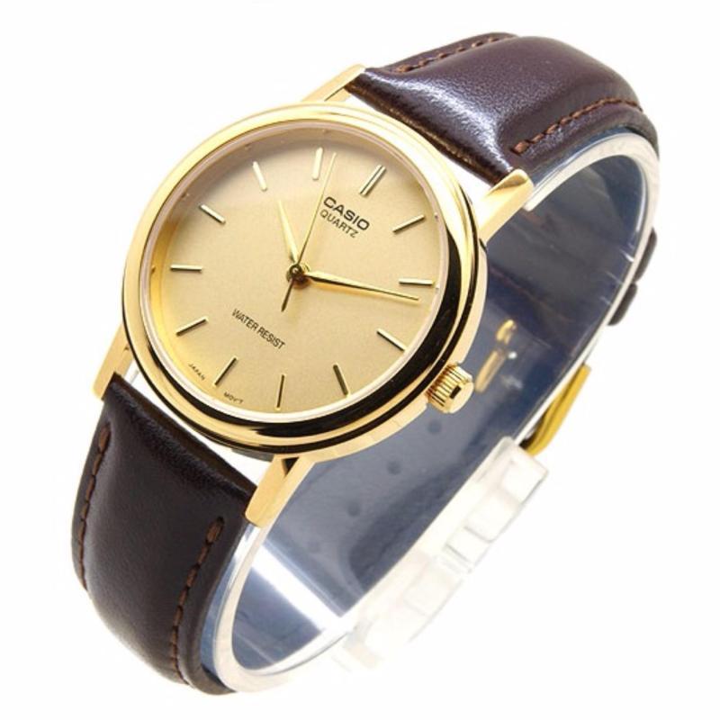 Nơi bán Đồng hồ nữ dây da Casio LTP-1095Q-9A (Vàng mặt vàng)