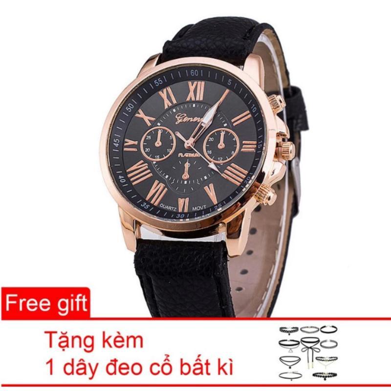 Nơi bán Đồng hồ nữ dây da tổng hợp Geneva GE003-1 (Đen) + Tặng 1 dây đeo cổ bất kì
