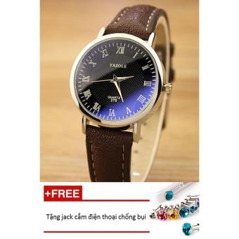 Đồng hồ nữ dây da tổng hợp Yazole PKHRYA004-6 (nâu mặt đen) + Tặng 1 jack chống bụi cho điện thoại