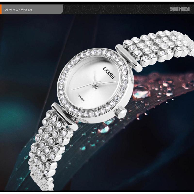 Nơi bán Đồng hồ nữ dây đính hạt sang trọng Skmei 1224 (Bạc)