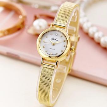 Đồng hồ nữ dây lụa mạ vàng cao cấp SL9101