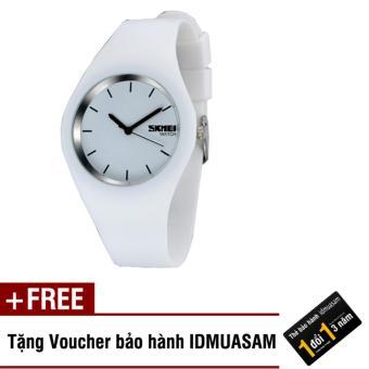 Đồng hồ nữ dây silicon cao cấp Skmei 4583 (Mặt trắng - Kim đen) + Tặng kèm voucher bảo hành IDMUASAM