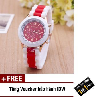 Tư vấn mua Đồng hồ nữ dây silicon thời trang Geneva IDW 8293 (Đỏ) + Tặng kèm voucher bảo hành IDW