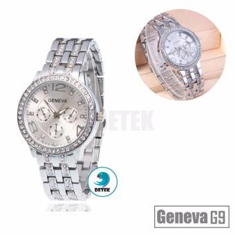 Báo Giá Đồng hồ nữ đính full hạt mặt và dây Geneva G9 (Bạc)