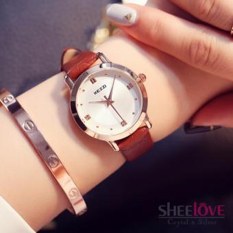 Đồng hồ nữ kezzi dây da mềm mặt tròn thời trang sang trọng WH-K1208(Nâu) - 2