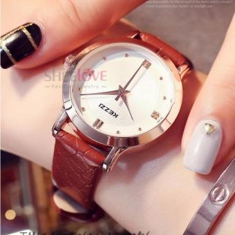 Đồng hồ nữ kezzi dây da mềm mặt tròn thời trang sang trọng WH-K1208(Nâu) - 5