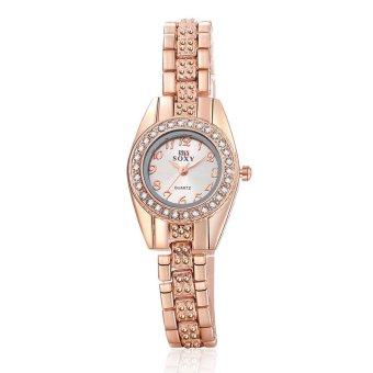 Đồng hồ nữu dây kim loại đính đá Soxy543 (Vàng)