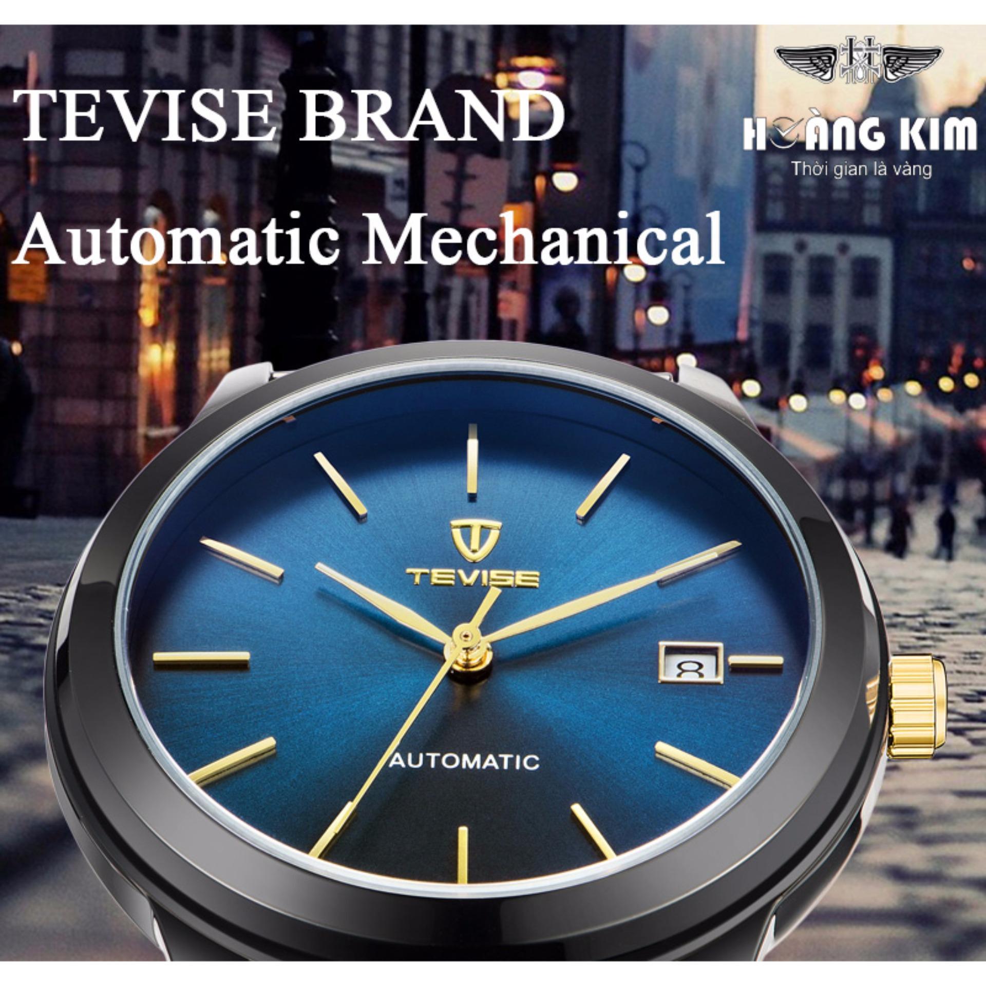 Đồng hồ Tevise 9017 cơ tự động dây lụa đen