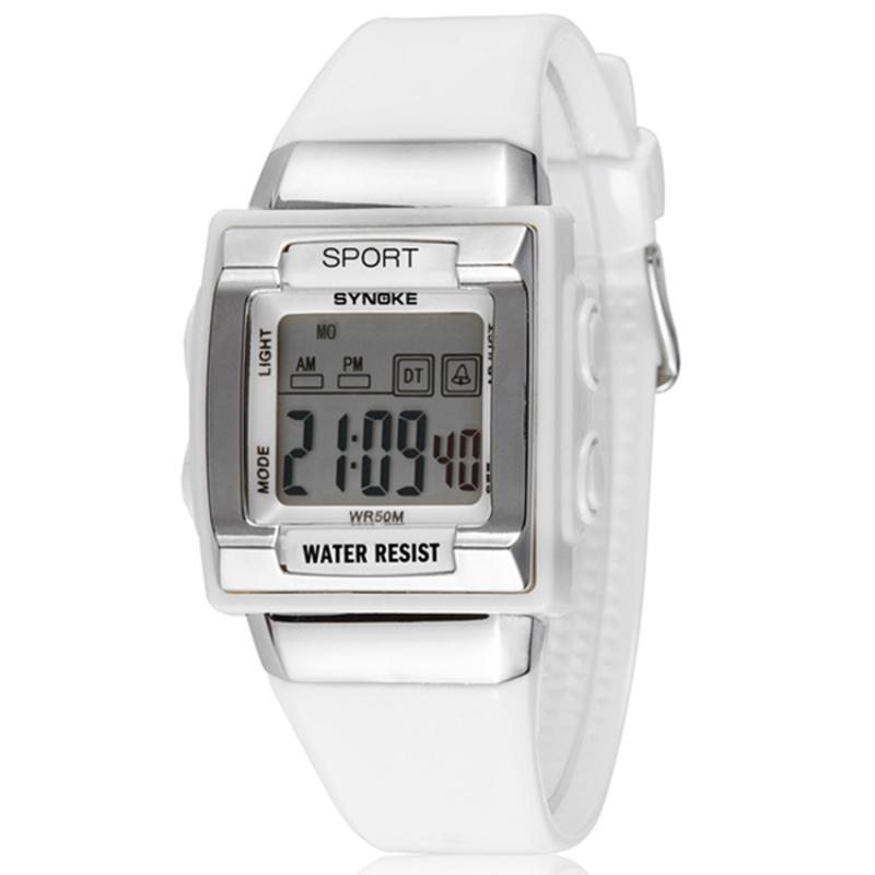 Đồng hồ thể thao mặt vuông dây nhựa trẻ em S66188 (Trắng phối bạc) bán chạy