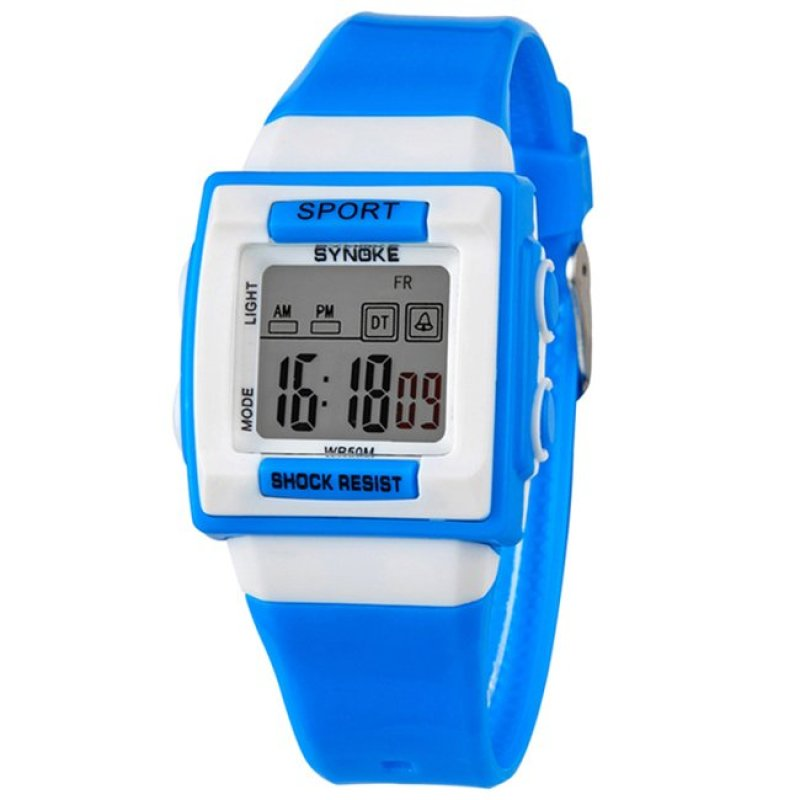 Đồng hồ thể thao trẻ em mặt vuông Synoke 66188 (Bạc phối xanh) bán chạy