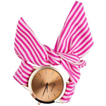 Đồng hồ thời trang dây vải cách điệu (Sọc hồng rose)