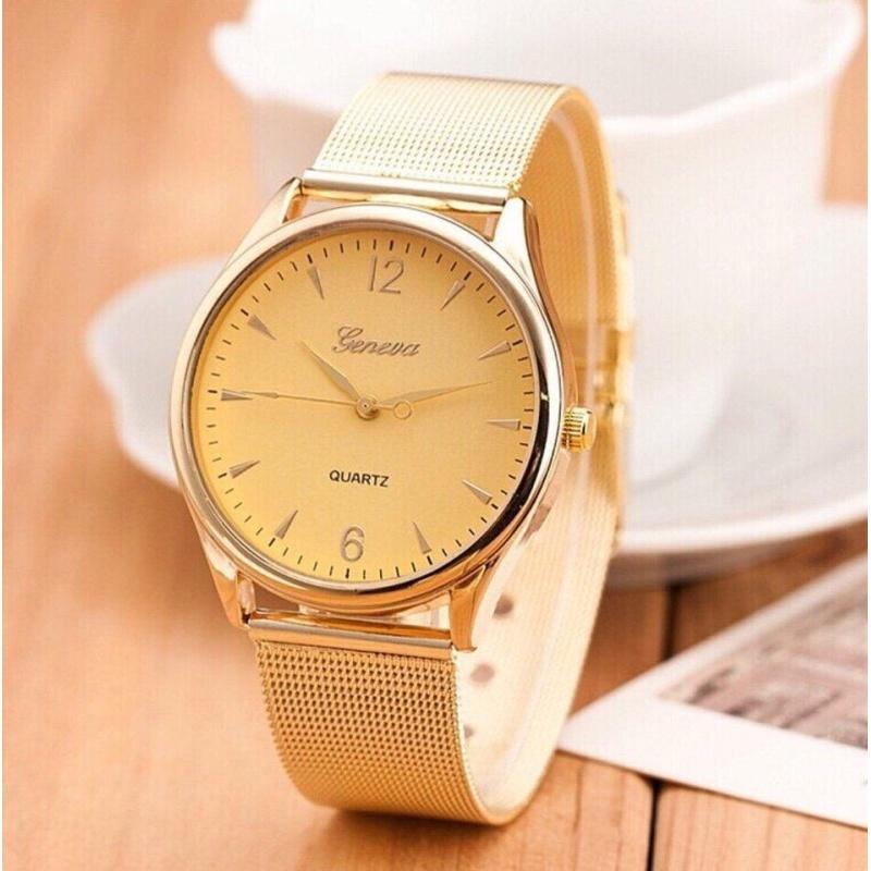 Nơi bán Đồng hồ thời trang nam  Geneva dây thép không gỉ ( màu vàng )