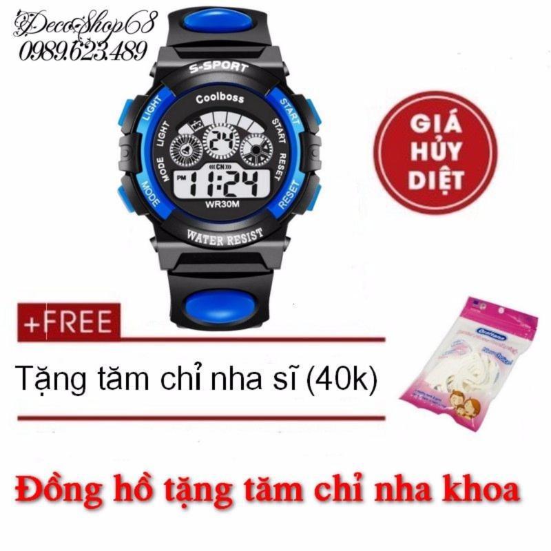 Đồng hồ trẻ em Decoshop68 W01-XD màu xanh đen tặng tăm chỉ nha khoa giá tốt bán chạy