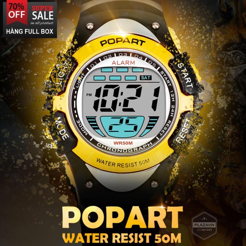Đồng hồ trẻ em dòng điện tử thể thao dây cao su cao cấp POPART POP-385T bơi lội thoải mái, máy cực bền, có đèn đêm, bộ đếm, có lịch + tặng thêm pin bán chạy