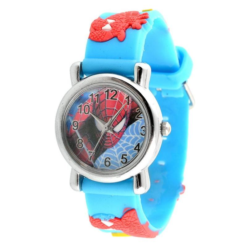 Fashion Rubber Cartoon Child Boys Kid Analog Quartz Spider Man Wrist Watch bán chạy