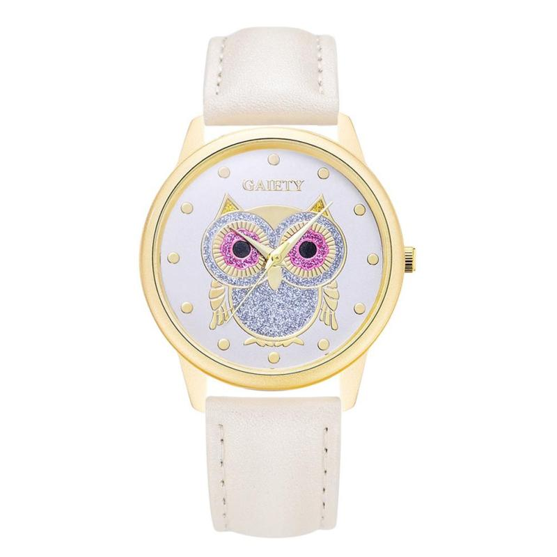 Nơi bán GAIETY Brand Women Luxury Sport Quartz Owl Leather Clock Watch (White) - intl
