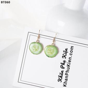 Hoa Tai Nữ Họa Tiết Lát Dưa Chuột - Mã BT060 green