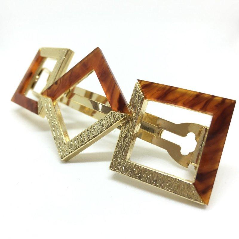 Kẹp tóc khối vuông cách điệu Osewaya DGHA400 (Vàng)