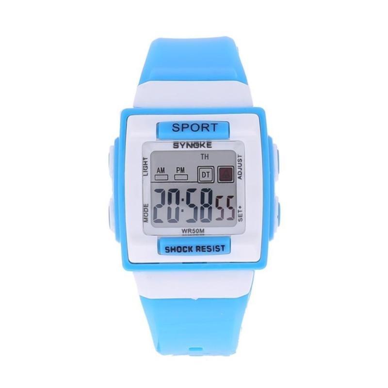 Kids Electronic Students Watch Digital Luminous Square Case Clock Watch(Blue) - intl bán chạy